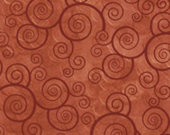 Harmony Blender Fabric - Curly Scroll by Quilting Treasures 24778 T Terracotta Brown Red  - Priced by the 1/2 yard