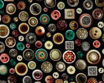 Seamless Packed Buttons - Button Fabric Dan Morris for Quilting Treasures  - 26584 J Black - Priced by the half yard