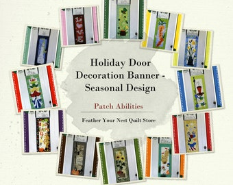 "Seasonal Door Banners - Simple Wall Hanging - Easy Applique - Patch Abilities - DIY Project Kits, Optional Door Hanger - Finish 12""x32"""
