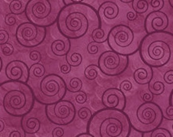 Harmony Blender Fabric - Curly Scroll by Quilting Treasures 24778 VM Plum Velvet Purple  - 1/2 yard