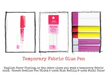 Sewline Temporary Glue - Glue Pen - Water soluble  - English Paper Piecing - Pen & Refills sold separately