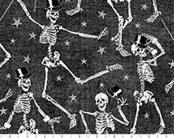 Northcott Elegantly Frightful - Dancing Skeletons - Northcott Studio - 22203 GL - Black w/Silver Glitter - Priced by the Half Yard