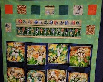 "Football Quilt Kit - Football Player Fabric - Gridiron Fabric by Dan Morris - Quilting Treasures - DIY Quilt Kit 54""x68"""