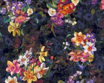 RJR Arcadia Fabric - Arcadia - Blooms Full of Grandeur - Digiprint Fabric -RJ802-ON1D Onyx Black - Priced by the 1/2 yard
