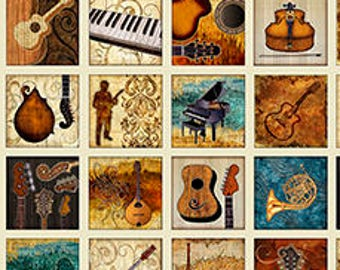 Music Instrument Fabric - Small Patch Music Panel, Encore by Dan Morris for Quilting Treasures  - 27013 E Ecru - Priced by 24-Inch panel