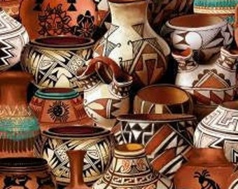 Southwest Pots Fabric - Kokopelli -  Timeless Treasures  - C7353 - priced by the half yard