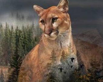 Mountain Lion - cougar - Puma Fabric  - Call of the Wild, Wildlife -  Hoffman Fabrics - Q4490H-141 - Digital Print Fabric  - 24Inch Panel