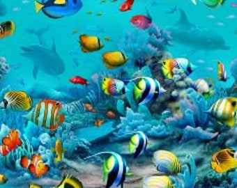 Tropical Fish Fabric - Underwater Sea Life - Fish on the Reef - Paradise Found - Elizabeth Studios 6108- Priced by the 1/2 yard