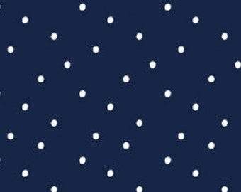 Polka Dot Fabric, Blender Fabric - Polka Dot from Dear Stella 187 Indigo (Navy) - Remnant 27 inch