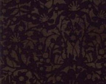 Christmas Fabric - Winter Lace - Tone on Tone Floral  - Nutcracker - Winter Village -  Moda 30556 17 Coal Black - Priced by the half yard