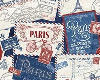 Paris Fabric - Paris postcard - French Icons -  From Paris  Always a Good Idea collection - Northcott - 22354 49 - priced by the half yard