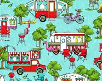 Landscape Roamin Holiday - Trailer Fabric - Pam Bocko for Studio E - 5501 11 Blue - Priced by the 1/2 yard