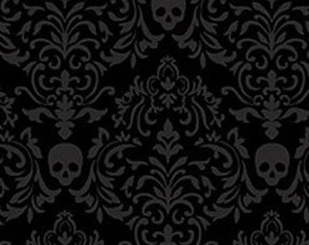 Spooky Night - Damask Skull - Small - Grace Popp for Studio E - 5720-99 Black - Priced by the 1/2 yard