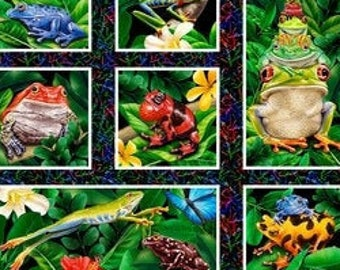Frogs - Jewels of the Jungle - Frogs & Leaves Panel - Lori Anzalone for StudioE Fabrics 5566 99 -  Priced by the 24-Inch panel