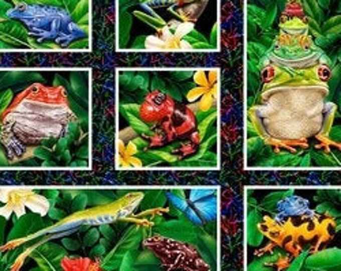 Featured listing image: Frogs - Jewels of the Jungle - Frogs & Leaves Panel - Lori Anzalone for StudioE Fabrics 5566 99 -  Priced by the 24-Inch panel