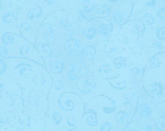 Temptations - Abstract Scroll - Light Floral - Quilting Treasures - 22542 BZ Powder Blue - Priced by the Half Yard