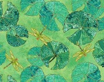 Shimmer Koi Pond Northcott - Water Lily Dragonfly by Karen Sikie - 22348M 73 Green -  Priced by the Half Yard