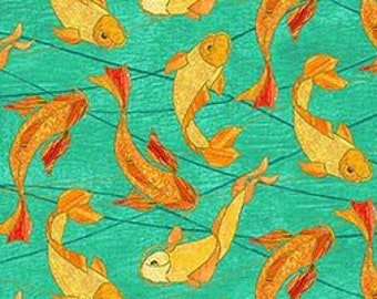 Shimmer Koi Pond Northcott - Koi Fish by Karen Sikie - 22347M 64 Teal Orange -  Priced by the Half Yard