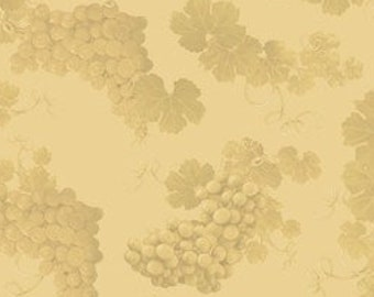 Grape Cluster Fabric - Wine Country by Rosiland Solomon for Elizabeth Studios 3305 Chardonney Cream Tone on Tone  - Priced by the 1/2 yard
