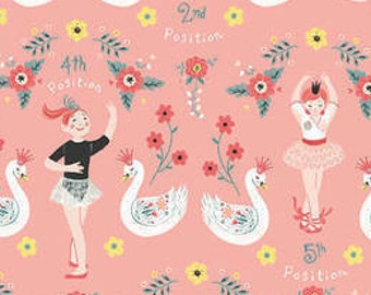 Bella Ballerina Fabric - Ballerina & Swans by Lucie Crovatto for Studio e Fabrics - 5364 22 Pink - Priced by the half yard