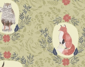 Animal Fabric, Beyond the Brush Fabric, Woodland - Foxtail Forest by Rae Ritchie for Dear Stella SRR 519 Fern Green - Priced by the 1/2 yard
