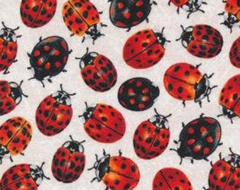 Frolicking Fields - LadyBug - Paintbrush Studio - 120 15311 White - Priced by the 1/2 yard