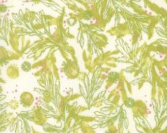 Poppy Fabric, Poppy Leaves, Poppy Pods - Poppy Mae Collection by Robin Pickens for Moda Fabric 48603 11 Green - Priced by the 1 /2 yard