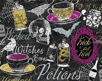 Northcott Elegantly Frightful - Potions cup of brew skull web - Northcott Studio - 22195 GL - Black w/Silver Glitter - Priced by the 1/2 yd