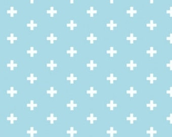 Blender Fabric, Small Cross Fabric - Positive from Dear Stella 592 Arctic Lt Blue - Priced by the 1/2 yard