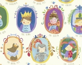 Royal Court Fabric, Fairy Tale Fabric - Meet the Royal Court by Jill McDonald for Windham - 41631  White - Priced by 1/2 Yard
