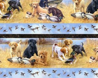 Northcott Faithful Friends - Hunting Dogs - Duck Hunting - Border Stripe - DP 22735 30 - Priced by the Half Yard