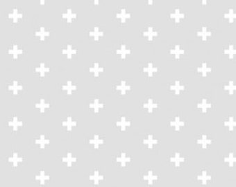 Blender Fabric, Small Cross Fabric - Positive from Dear Stella 592 Smoke (Lt Gray) - Priced by the 1/2 yard