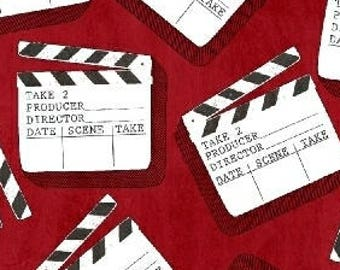 Movie Fabric, Clap Board, Scene Marker - Action! Clap Board by Whistler Studio for Windham  - 42854 3 Red -  Priced by 1/2 yard