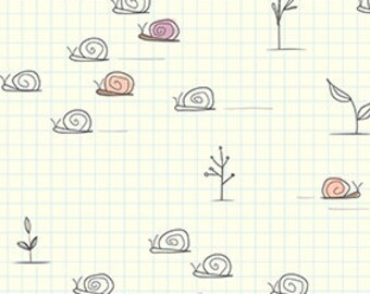 Snail Fabric, Garden Fabric - Gnome Matter What! by Ink & Arrow For Quilting Treasures - 25837 E Ecru Natural - Priced by the 1/2 yard