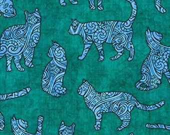 Cat Fabric - Cat Silhouettes - Purr-Suasion - Dan Morris Quilting Treasures - 26648 Green - Priced by the half yard