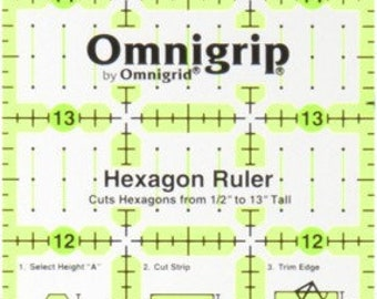 OmniGrip by OmniGrid - Rectangle Ruler with Hexagon markings - RN316 - 3-Inch x 16 Inch