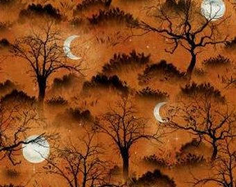 Frightful Night - Halloween Moon Tree - Wilmington Prints - 20505 891 Orange - Priced by the half yard