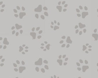 Cat Fabric, Paw Print, Kitty Fabric - Furr Ever Friends by Linda Picken  - Blank Quilting - 9083 90 Gray - Priced by the half yard