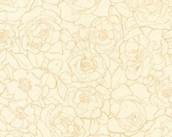 Rose Garden Fabric - The Flowers Alphonse Mucha 1898 - Kaufman Fabrics - SRKD-18191-15 Ivory Rose - Priced by the half yard