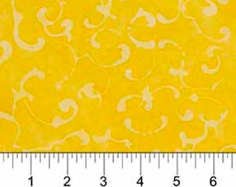 Abstract Swirl Fabric - Banyan Batik French Macaroon Northcott  80123 54 Yellow  - Priced by the 1/2 yard