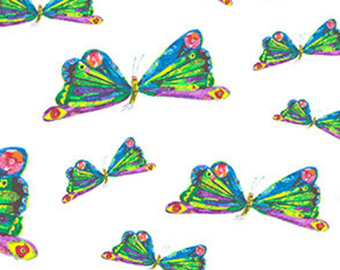 Featured listing image: Butterfly Dance Fabric, Butterfly Flying - Very Hungry Caterpillar by Eric Carle for Andover Fabrics 7234 X - Priced by the half yard