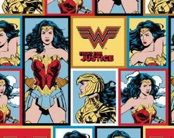 Wonder Woman 84 - Super Hero Blocks - Super Hero Women - Women of DC Comics  - Camelot 23400821 - Priced by the 1/2 yard