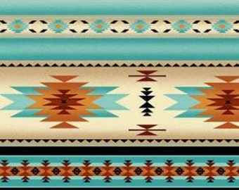 Indian Blanket Stripe Fabric from Southwest Tucson Collection by Elizabeth Studio 201 E Turquoise - Priced by the 1/2 yard