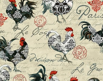 Allover Rooster - Le Poulet collection Jennifer Brinley for Studio E - 5461 33 Cream - Priced by the half yard