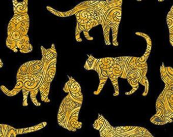 Cat Fabric - Cat Silhouettes - Purr-Suasion - Dan Morris Quilting Treasures - 26648 Black - Priced by the half yard