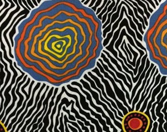 Australian Fabric - Salt Plain - Salt Pan - Crevice Lake - Aboriginal Fabric - Marie Ellis  - Priced by the half yard
