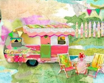 My Happy Place - Trailer Camping - Connie Haley - 3Wishes Fabric - 18406 Priced by the Half Yard
