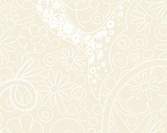 Alison Glass, Diving Board, Mermaid Pearl Design - for Andover Fabric 8634 L - Oyster White on White - Priced by the Half Yard