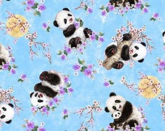 Panda Sanctuary - Tossed Panda by Kayomi Harai for Studio e Fabrics - 5268 11 Blue - Priced by the half yard