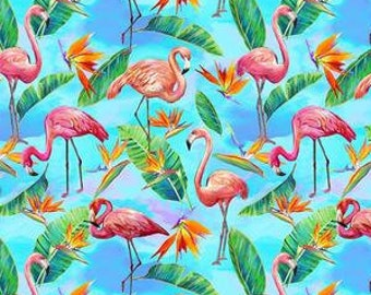 Flamingo Fabric - Fabulous Flamingos by Ro Gregg for  Paintbrush Studio Fabric - 208922 Blue -  Priced by the half yard